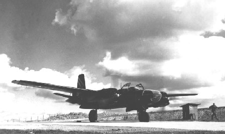 Sembach B-26 on a ground check after engine overhaul.  Circa 1954