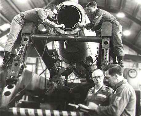 Mace missile engine repair. Sembach Air Base, Germany, Sembach AB Germany