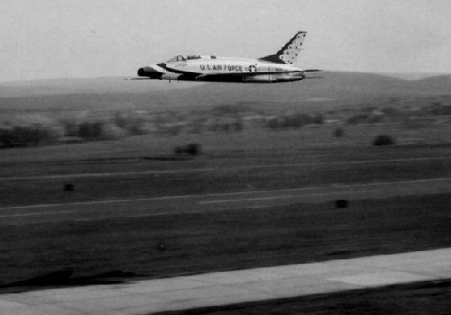 This was one of those rare occasions when the Thunderbirds used Sembach as their practice field.  1963 photo by Jim Pint.