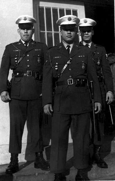 David Stand, Cipriano Medrano, and Fred Mignone at the Security Police Armory