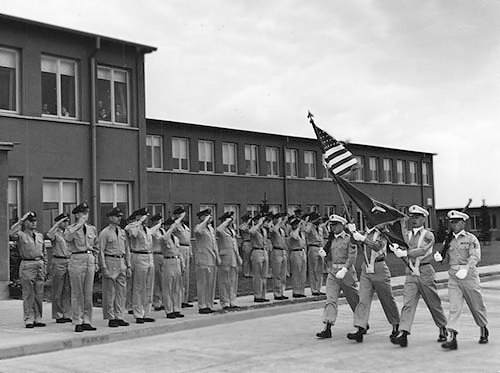 66th Tac Recon Wing, Saturday Parade, 1953. In front of Sembach Wing Headquarters